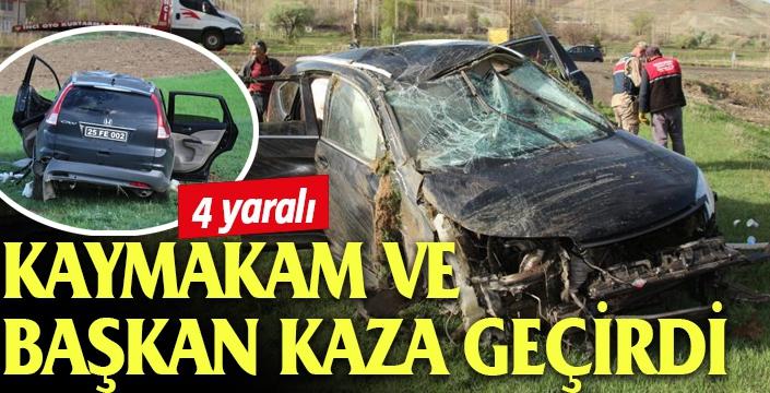 Kaymakam ve belediye başkanını taşıyan araç şarampole yuvarlandı: 4 yaralı